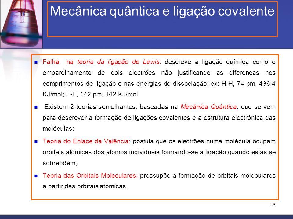 18 Falha na teoria da ligação de Lewis: descreve a ligação química como o emparelhamento de dois electrões não justificando as diferenças nos comprime