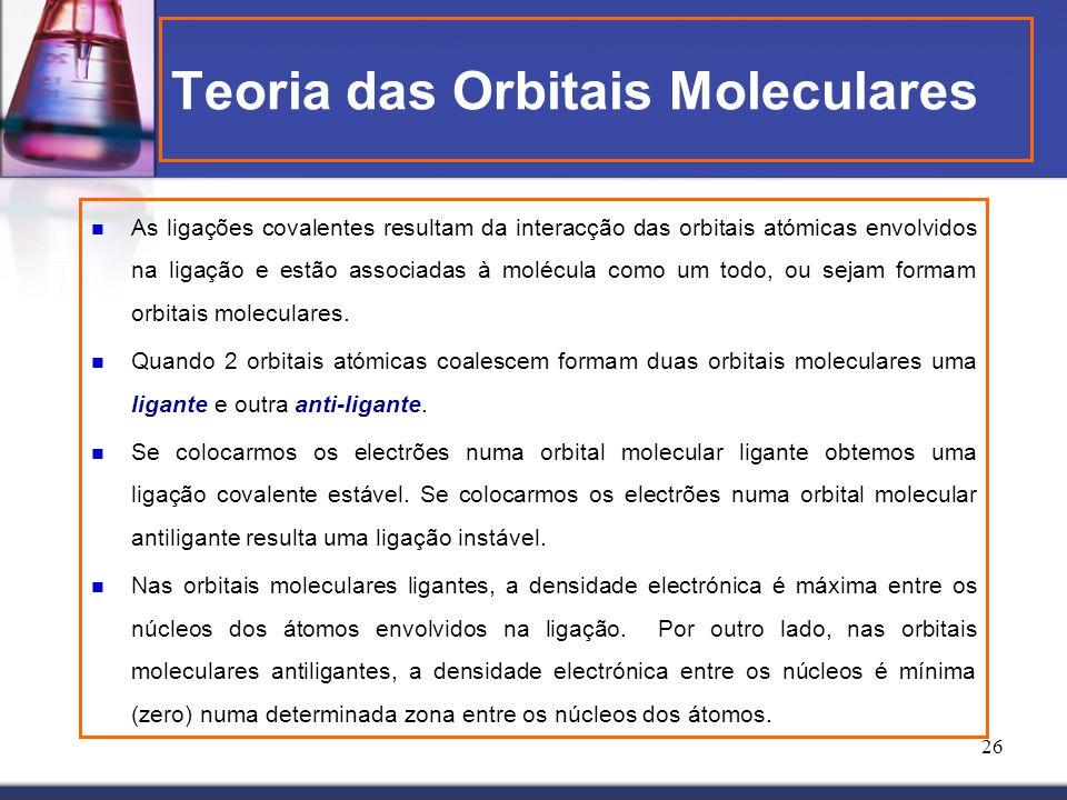 26 Teoria das Orbitais Moleculares As ligações covalentes resultam da interacção das orbitais atómicas envolvidos na ligação e estão associadas à molé