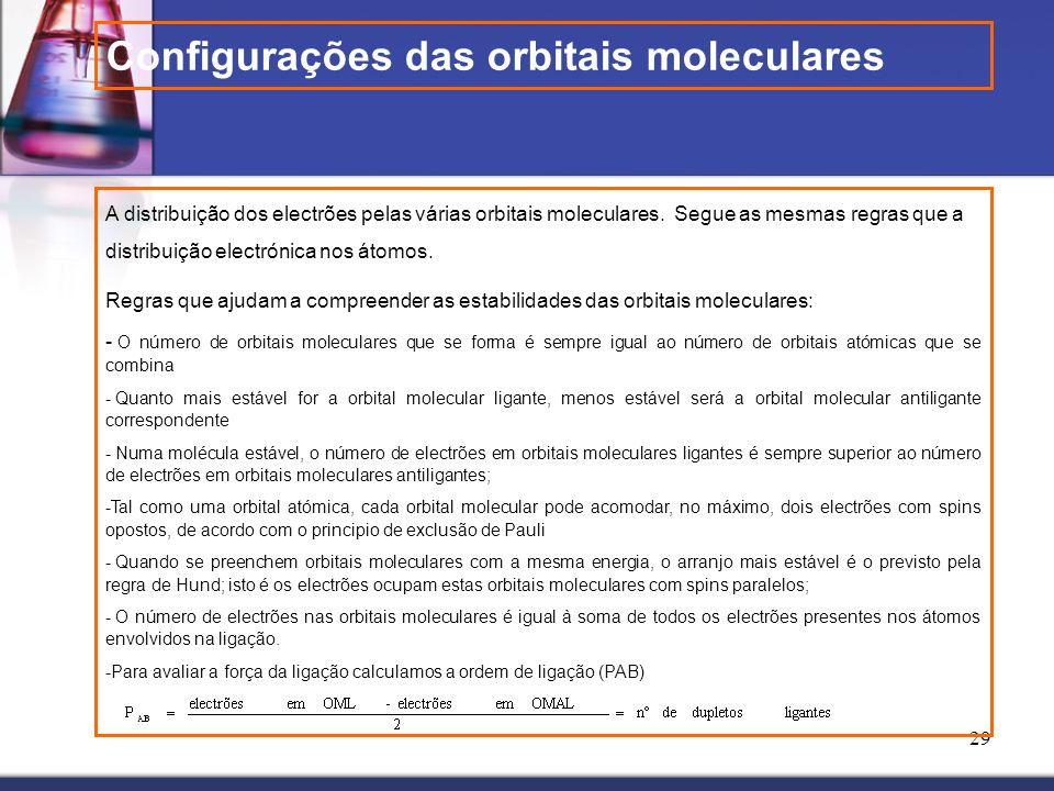 29 A distribuição dos electrões pelas várias orbitais moleculares. Segue as mesmas regras que a distribuição electrónica nos átomos. Regras que ajudam