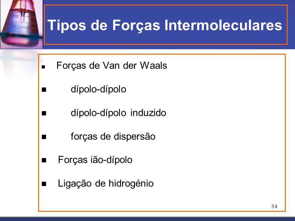 34 Tipos de Forças Intermoleculares Forças de Van der Waals dípolo-dípolo dípolo-dípolo induzido forças de dispersão Forças ião-dípolo Ligação de hidr