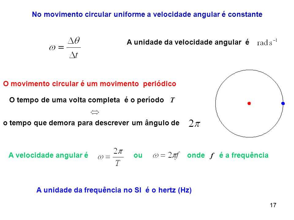 17 O movimento circular é um movimento periódico O tempo de uma volta completa é o período T o tempo que demora para descrever um ângulo de A velocida