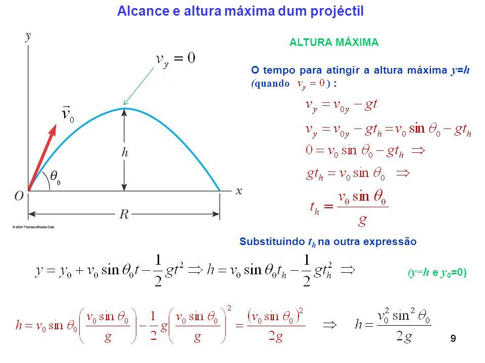 99 O tempo para atingir a altura máxima y = h (quando ) : 9 Alcance e altura máxima dum projéctil 0 ALTURA MÁXIMA Substituindo t h na outra expressão