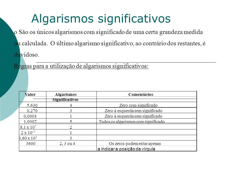 o São os únicos algarismos com significado de uma certa grandeza medida ou calculada. O último algarismo significativo, ao contrário dos restantes, é