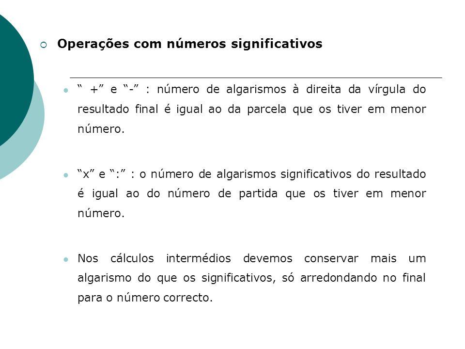 Operações com números significativos + e - : número de algarismos à direita da vírgula do resultado final é igual ao da parcela que os tiver em menor