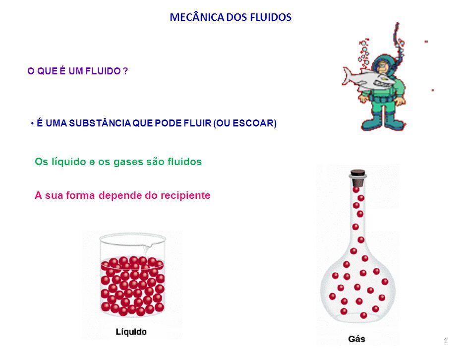 1 MECÂNICA DOS FLUIDOS Os líquido e os gases são fluidos É UMA SUBSTÂNCIA QUE PODE FLUIR (OU ESCOAR) O QUE É UM FLUIDO ? A sua forma depende do recipi