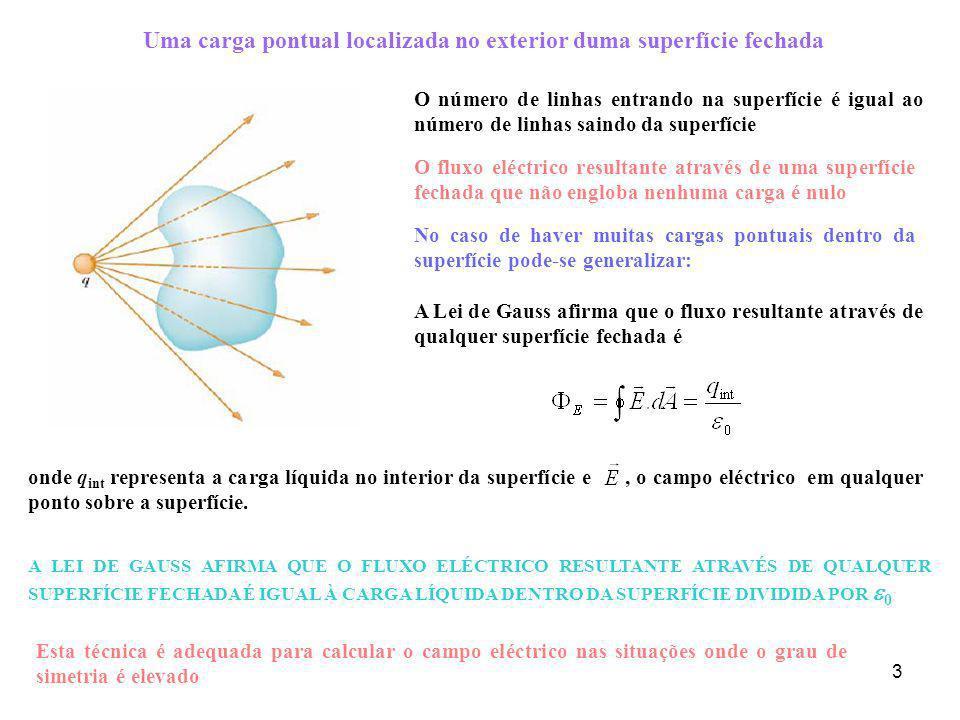 4 Exemplo 1: Determinar o fluxo eléctrico através de uma superfície cilíndrica, que está num campo eléctrico uniforme a b c O fluxo através de toda a superfície é