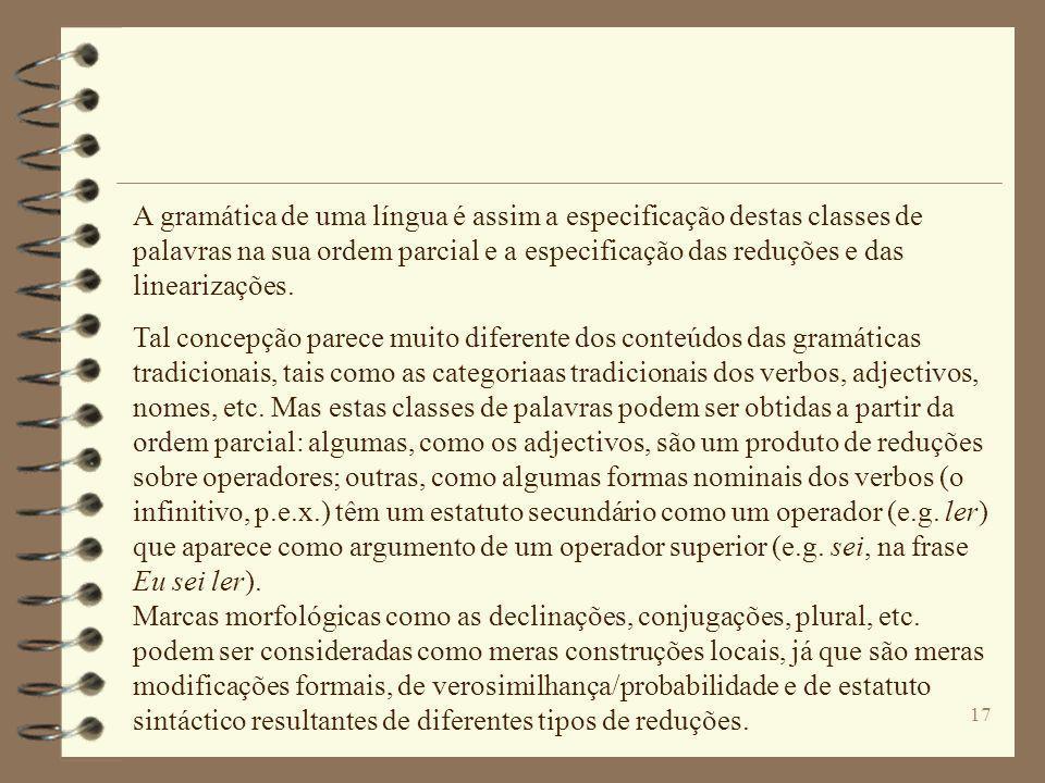 16 A restrição operador-argumento(s) impõe uma ordem parcial sobre as palavras de uma língua em relação à possibilidade de estas coocorrerem em frases