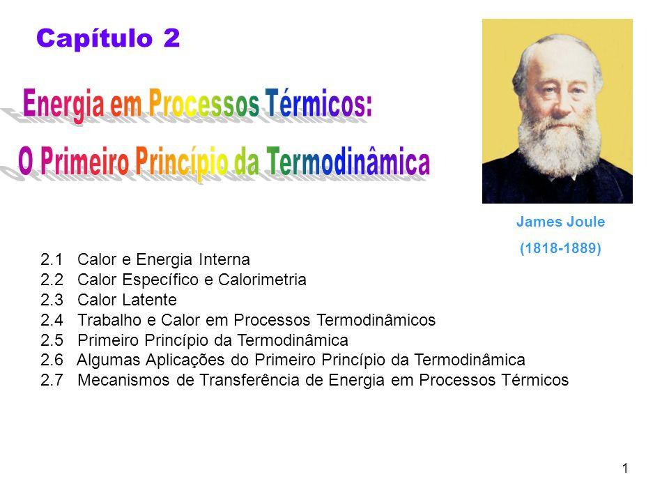 1 Capítulo 2 2.1 Calor e Energia Interna 2.2 Calor Específico e Calorimetria 2.3 Calor Latente 2.4 Trabalho e Calor em Processos Termodinâmicos 2.5 Pr