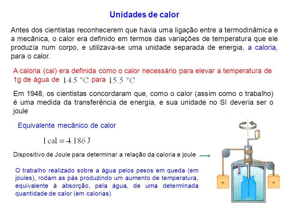 4 Unidades de calor Antes dos cientistas reconhecerem que havia uma ligação entre a termodinâmica e a mecânica, o calor era definido em termos das var