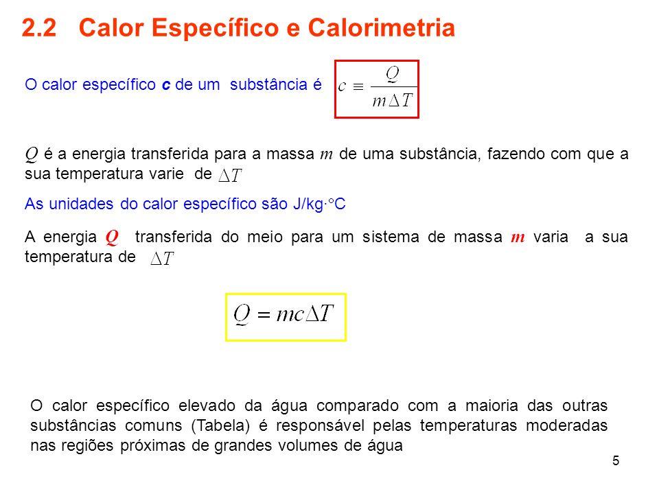 5 2.2 Calor Específico e Calorimetria O calor específico c de um substância é Q é a energia transferida para a massa m de uma substância, fazendo com