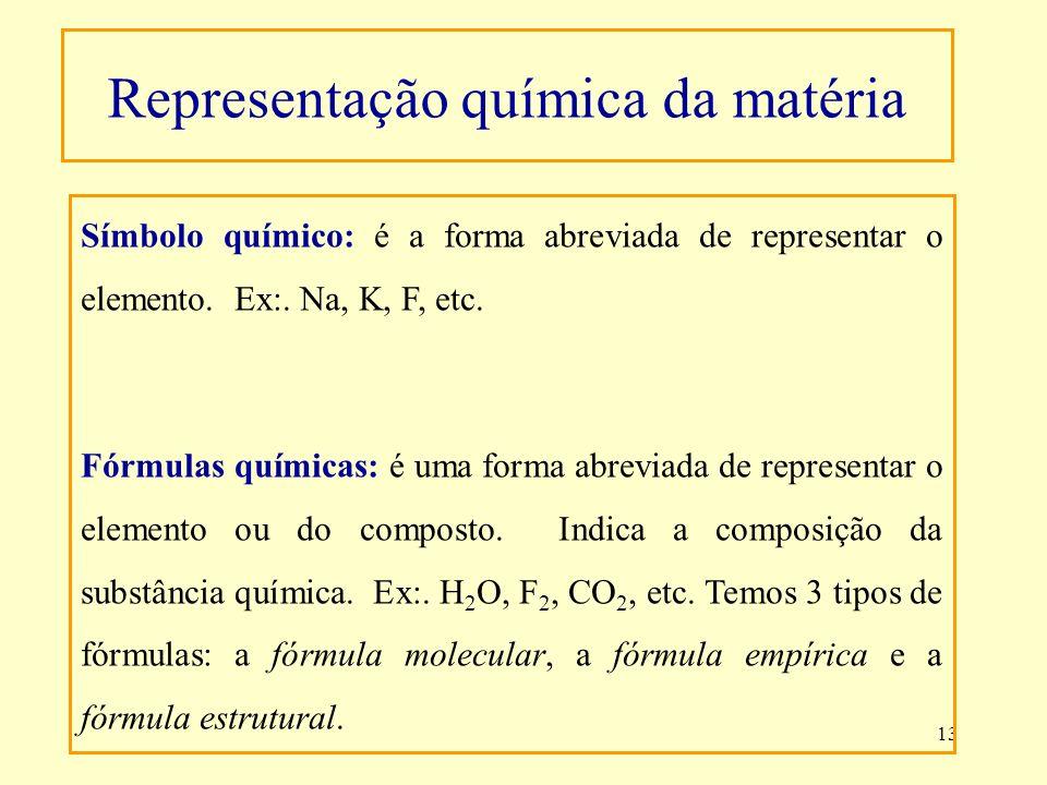 13 Símbolo químico: é a forma abreviada de representar o elemento. Ex:. Na, K, F, etc. Fórmulas químicas: é uma forma abreviada de representar o eleme