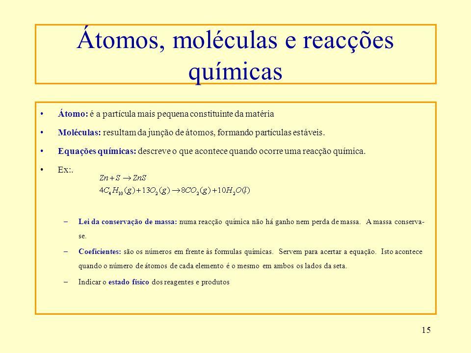 15 Átomos, moléculas e reacções químicas Átomo: é a partícula mais pequena constituinte da matéria Moléculas: resultam da junção de átomos, formando p