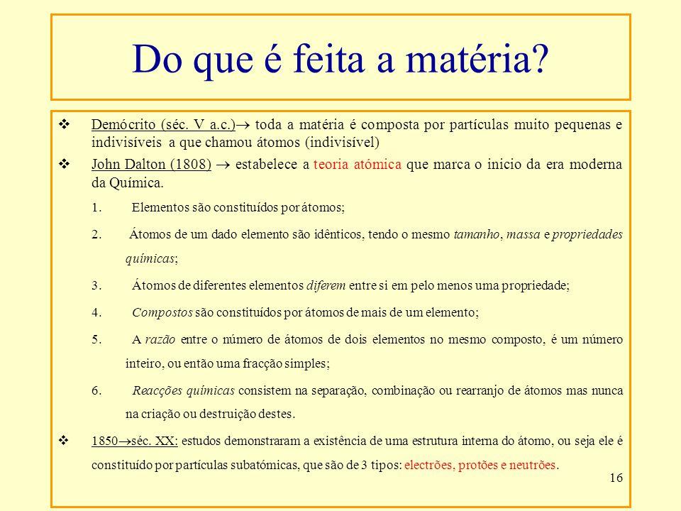 16 Demócrito (séc. V a.c.) toda a matéria é composta por partículas muito pequenas e indivisíveis a que chamou átomos (indivisível) John Dalton (1808)
