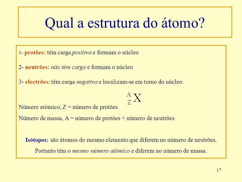17 1- protões: têm carga positiva e formam o núcleo 2- neutrões: não têm carga e formam o núcleo 3- electrões: têm carga negativa e localizam-se em to