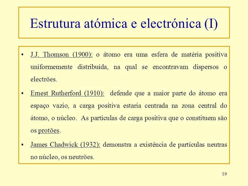 19 Estrutura atómica e electrónica (I) J.J. Thomson (1900): o átomo era uma esfera de matéria positiva uniformemente distribuída, na qual se encontrav