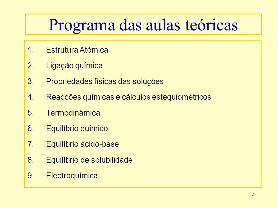 2 Programa das aulas teóricas 1.Estrutura Atómica 2.Ligação química 3.Propriedades físicas das soluções 4.Reacções químicas e cálculos estequiométrico