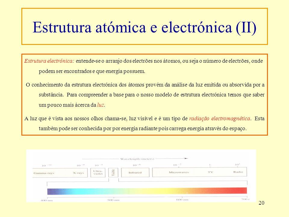 20 Estrutura electrónica: entende-se o arranjo dos electrões nos átomos, ou seja o número de electrões, onde podem ser encontrados e que energia possu