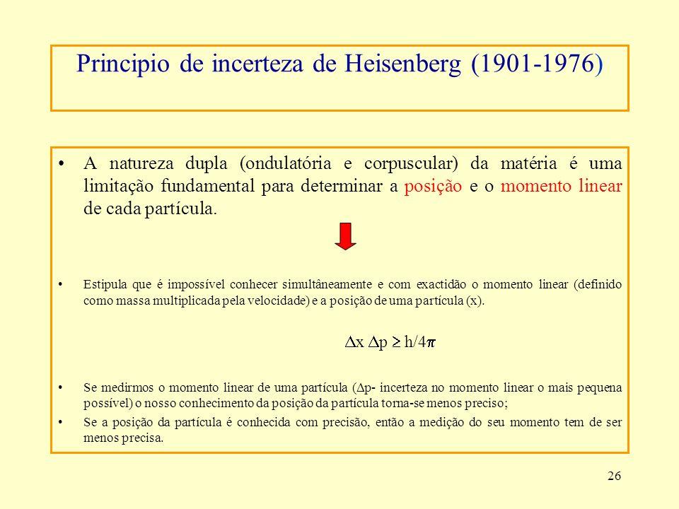 26 Principio de incerteza de Heisenberg (1901-1976) A natureza dupla (ondulatória e corpuscular) da matéria é uma limitação fundamental para determina