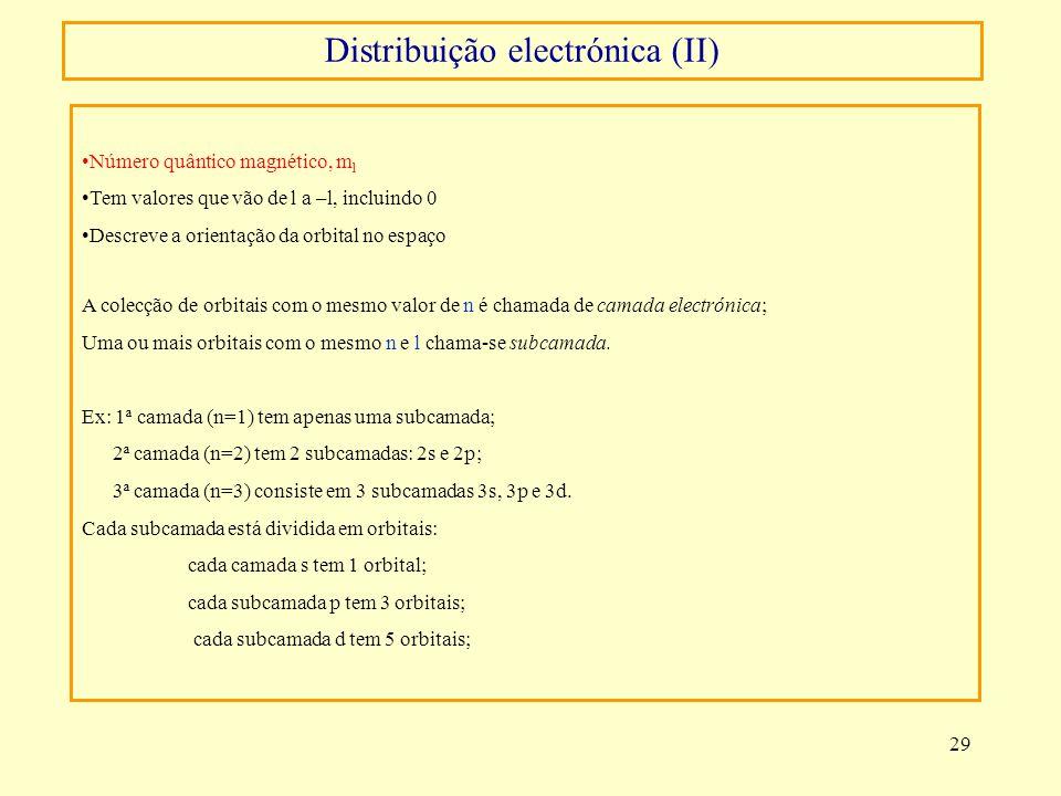 29 Número quântico magnético, m l Tem valores que vão de l a –l, incluindo 0 Descreve a orientação da orbital no espaço A colecção de orbitais com o m