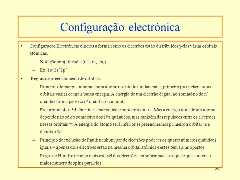 30 Configuração electrónica Configuração Electrónica: diz-nos a forma como os electrões estão distribuídos pelas várias orbitais atómicas. –Notação si