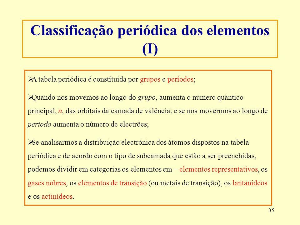 35 A tabela periódica é constítuida por grupos e períodos; Quando nos movemos ao longo do grupo, aumenta o número quântico principal, n, das orbitais