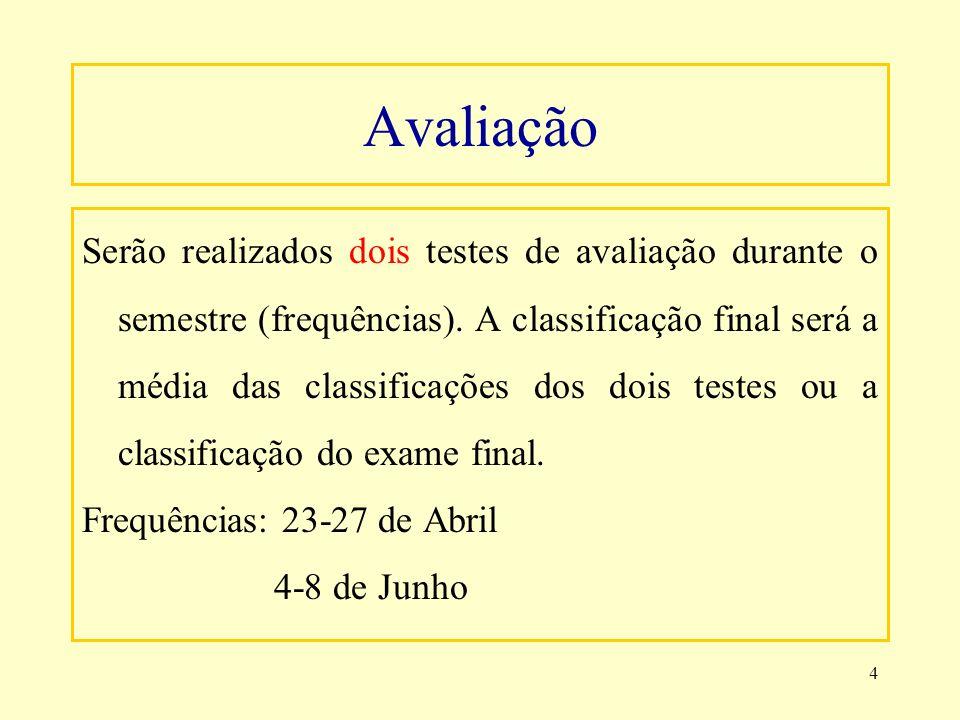 4 Avaliação Serão realizados dois testes de avaliação durante o semestre (frequências). A classificação final será a média das classificações dos dois