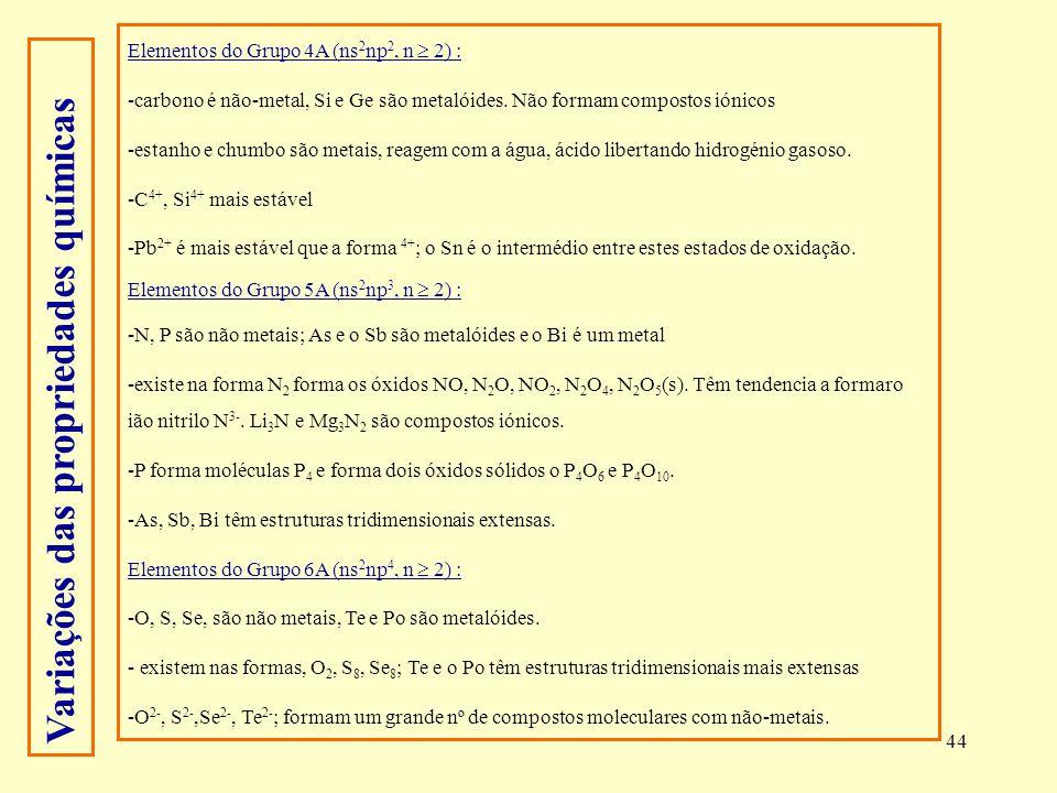 44 Elementos do Grupo 4A (ns 2 np 2, n 2) : -carbono é não-metal, Si e Ge são metalóides. Não formam compostos iónicos -estanho e chumbo são metais, r