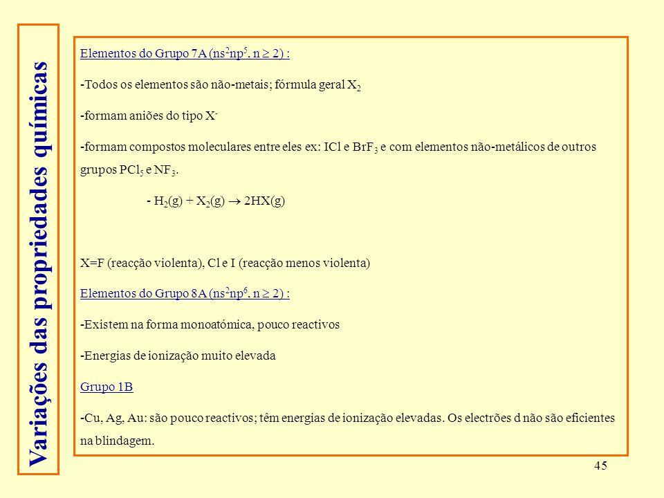 45 Elementos do Grupo 7A (ns 2 np 5, n 2) : -Todos os elementos são não-metais; fórmula geral X 2 -formam aniões do tipo X - -formam compostos molecul