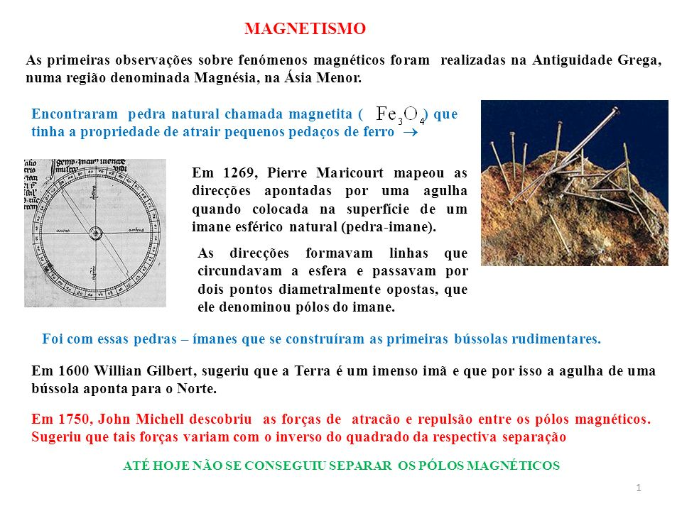 1 As primeiras observações sobre fenómenos magnéticos foram realizadas na Antiguidade Grega, numa região denominada Magnésia, na Ásia Menor. Encontrar