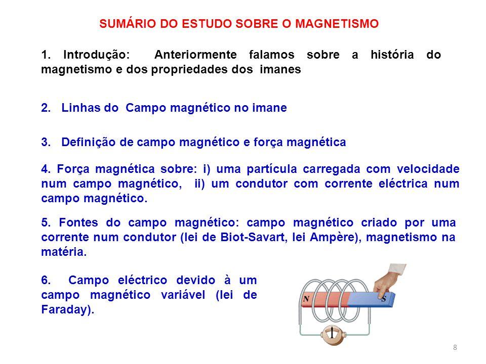 8 SUMÁRIO DO ESTUDO SOBRE O MAGNETISMO 2. Linhas do Campo magnético no imane 1. Introdução: Anteriormente falamos sobre a história do magnetismo e dos