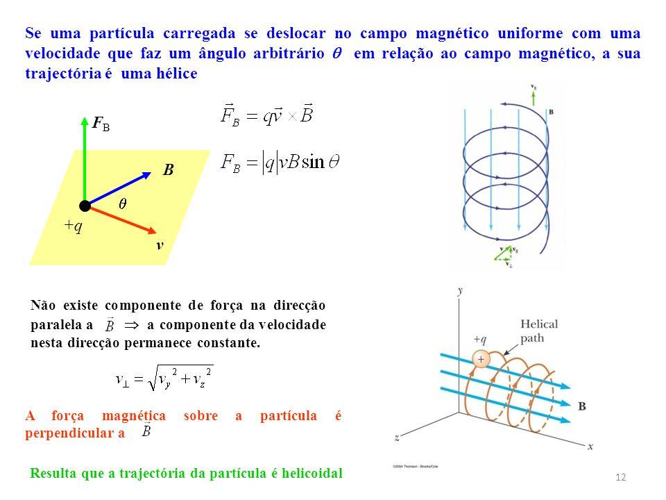 12 Não existe componente de força na direcção paralela a a componente da velocidade nesta direcção permanece constante. Se uma partícula carregada se