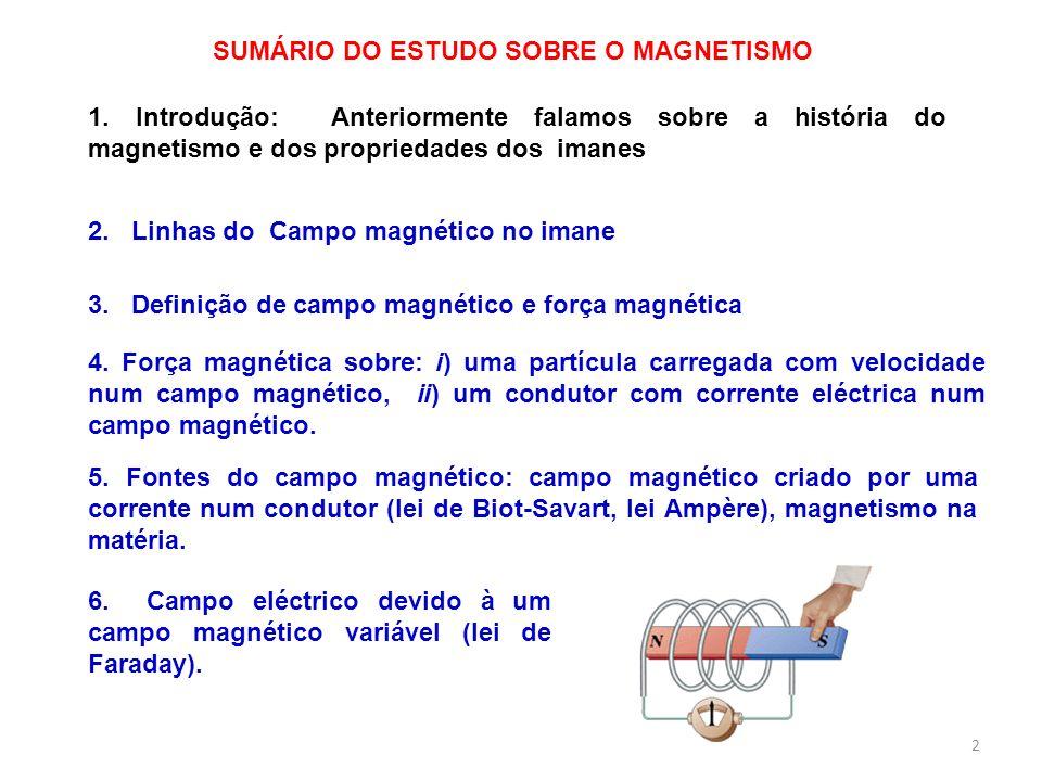 3 O campo magnético é um campo vectorial, similar ao campo eléctrico O campo magnético B é tangente, em cada ponto, às linhas de campo magnético Uma pequena bússola pode ser utilizada para traçar as linhas do campo magnético de uma barra imanada.