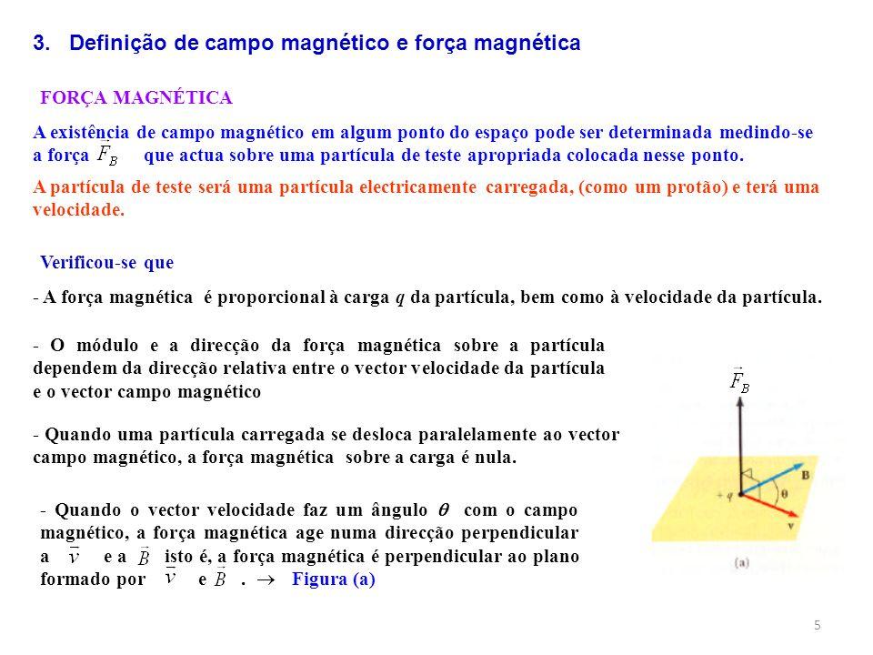 5 FORÇA MAGNÉTICA A existência de campo magnético em algum ponto do espaço pode ser determinada medindo-se a força que actua sobre uma partícula de te