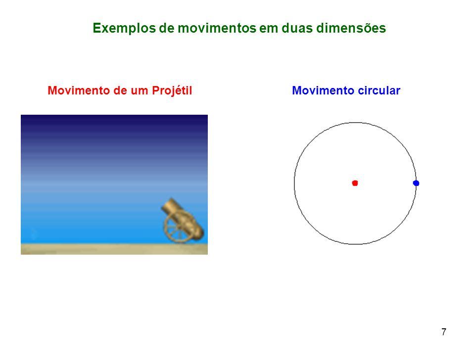 7 Exemplos de movimentos em duas dimensões Movimento de um ProjétilMovimento circular