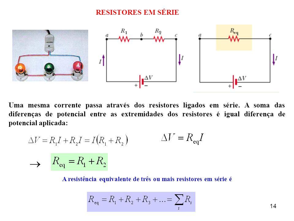 RESISTORES EM SÉRIE Uma mesma corrente passa através dos resistores ligados em série. A soma das diferenças de potencial entre as extremidades dos res