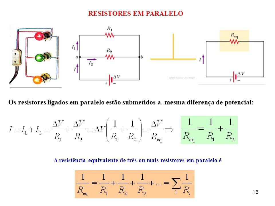 RESISTORES EM PARALELO 15 Os resistores ligados em paralelo estão submetidos a mesma diferença de potencial: A resistência equivalente de três ou mais