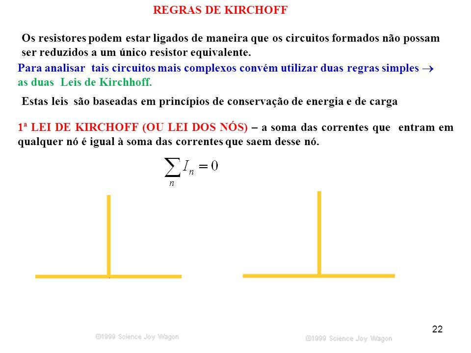 REGRAS DE KIRCHOFF Os resistores podem estar ligados de maneira que os circuitos formados não possam ser reduzidos a um único resistor equivalente. Pa