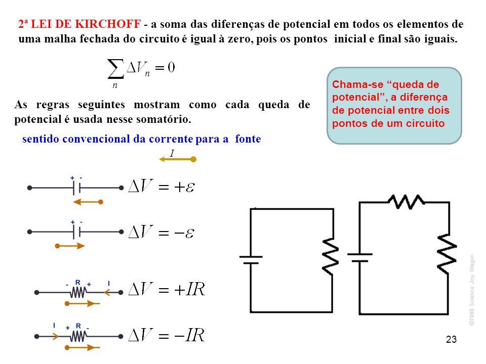 2ª LEI DE KIRCHOFF - a soma das diferenças de potencial em todos os elementos de uma malha fechada do circuito é igual à zero, pois os pontos inicial