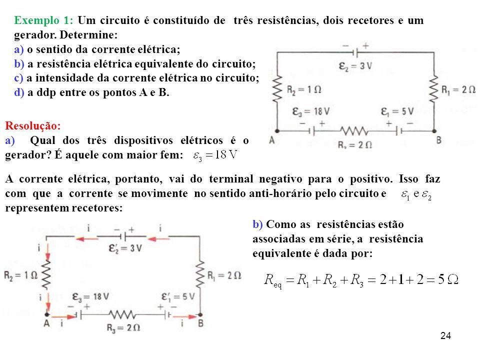 25 c) a intensidade da corrente elétrica no circuito; d) a ddp entre os pontos A e B.