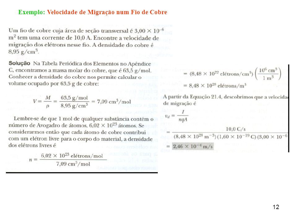 12 Exemplo: Velocidade de Migração num Fio de Cobre