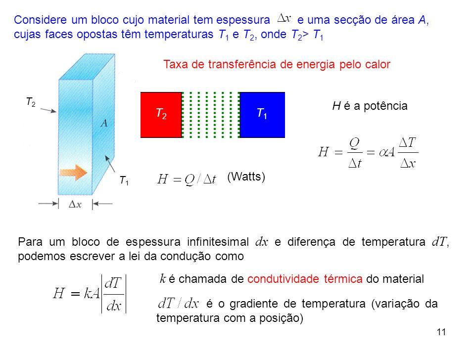 11 k é chamada de condutividade térmica do material Considere um bloco cujo material tem espessura e uma secção de área A, cujas faces opostas têm tem