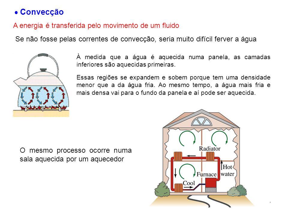 14 Convecção A energia é transferida pelo movimento de um fluido Se não fosse pelas correntes de convecção, seria muito difícil ferver a água À medida