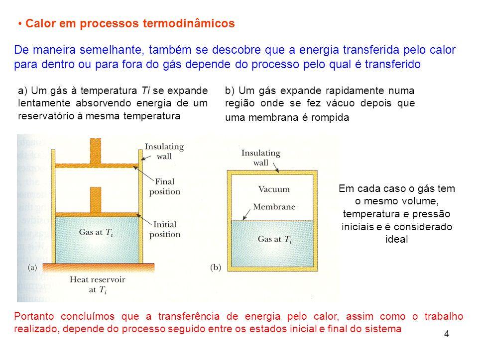 5 2.5 Primeiro Princípio da Termodinâmica Caso especial do princípio da conservação de energia: a única variação na energia dum sistema é a variação na sua energia interna U, e os únicos mecanismos de transferência de energia são o calor Q e o trabalho W Primeiro princípio da termodinâmica Quando um sistema é submetido a uma mudança infinitesimal em seu estado, tal que uma pequena quantidade de energia dQ transferida pelo calor e uma pequena quantidade de trabalho dW realizado pelo sistema, a energia interna também varia de uma quantidade pequena dU Q é a energia transferida para o gás Significa que a variação da energia interna de um sistema, é igual à soma da energia transferida através da fronteira do sistema pelo calor e a energia transferida pelo trabalho W é o trabalho realizado pelo gás