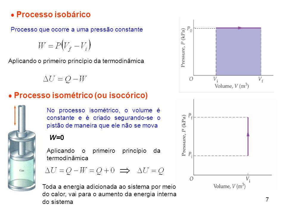 7 Processo isobárico Processo que ocorre a uma pressão constante Processo isométrico (ou isocórico) No processo isométrico, o volume é constante e é c