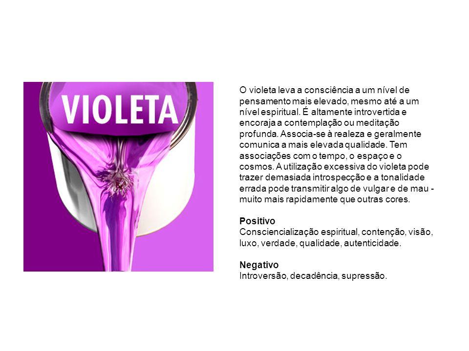 O violeta leva a consciência a um nível de pensamento mais elevado, mesmo até a um nível espiritual. É altamente introvertida e encoraja a contemplaçã