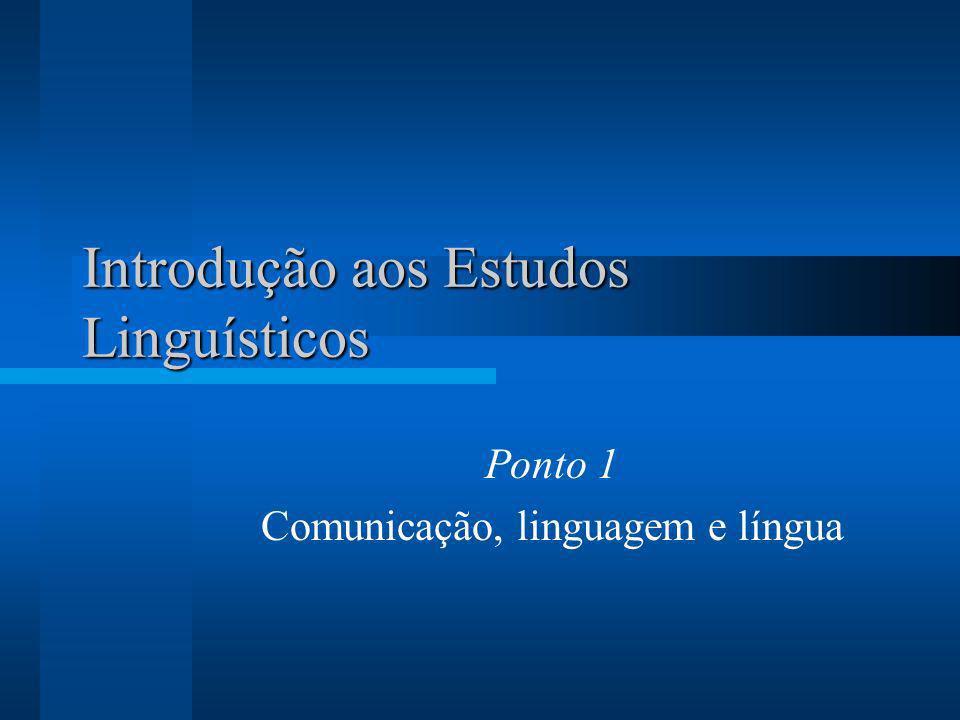 Introdução aos Estudos Linguísticos Ponto 1 Comunicação, linguagem e língua