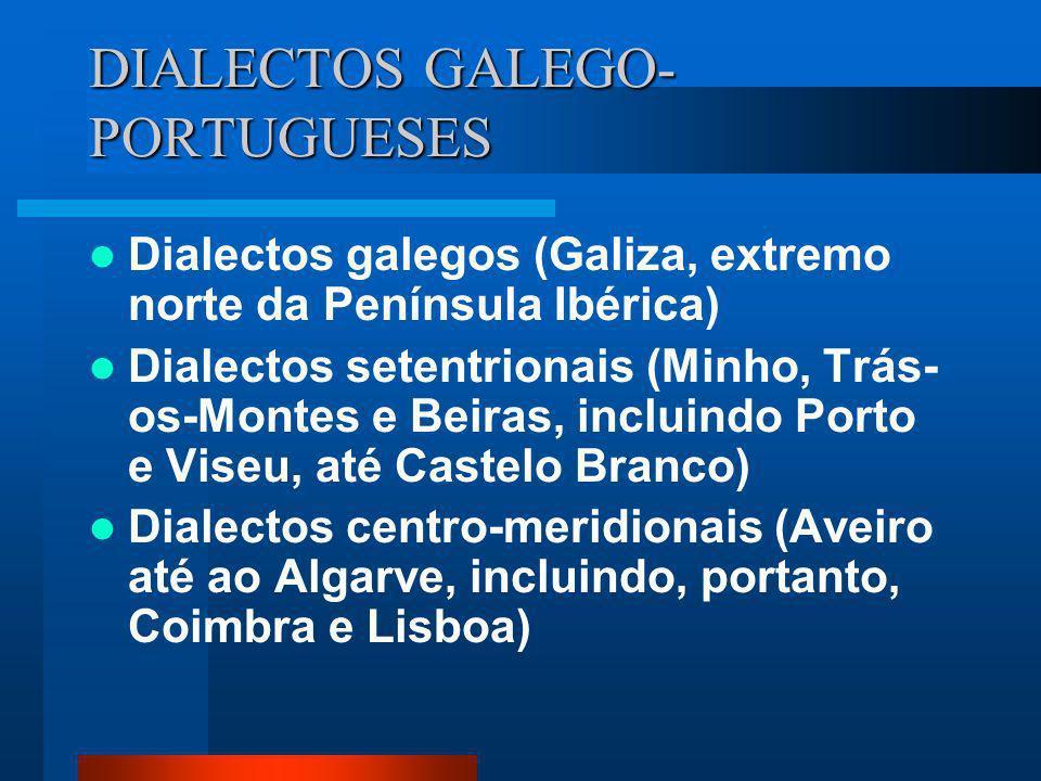 DIALECTOS GALEGO- PORTUGUESES Dialectos galegos (Galiza, extremo norte da Península Ibérica) Dialectos setentrionais (Minho, Trás- os-Montes e Beiras,