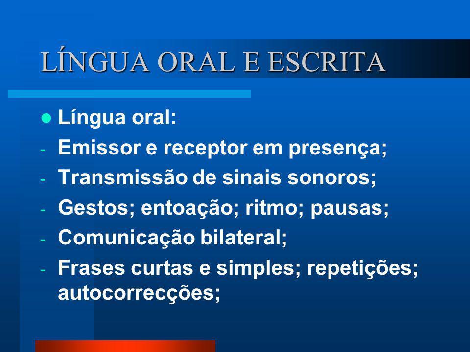LÍNGUA ORAL E ESCRITA Língua oral: - Emissor e receptor em presença; - Transmissão de sinais sonoros; - Gestos; entoação; ritmo; pausas; - Comunicação