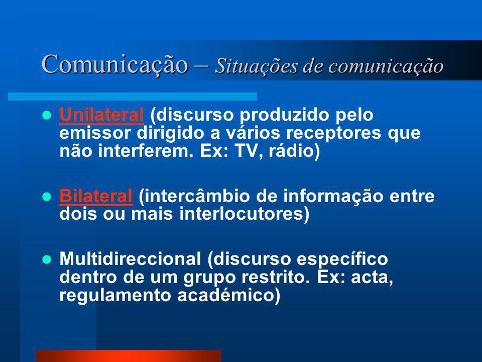 Comunicação – Situações de comunicação Unilateral (discurso produzido pelo emissor dirigido a vários receptores que não interferem. Ex: TV, rádio) Uni