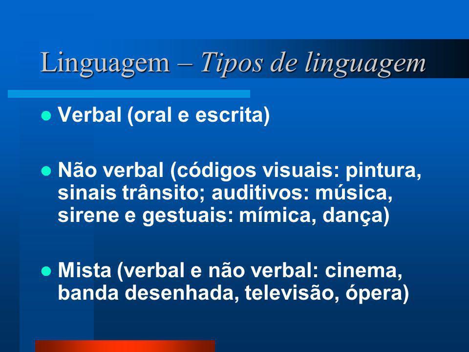 Linguagem – Tipos de linguagem Verbal (oral e escrita) Não verbal (códigos visuais: pintura, sinais trânsito; auditivos: música, sirene e gestuais: mí